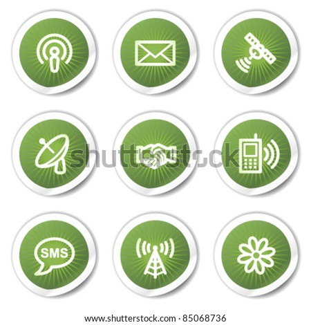 Communication web icons, green  stickers - stock vector