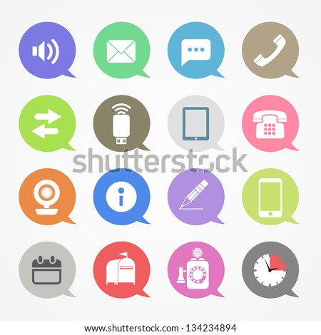 Communication web icons set in color speech clouds - stock vector