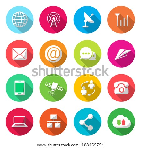 Communications colorful Icons Vector - stock vector