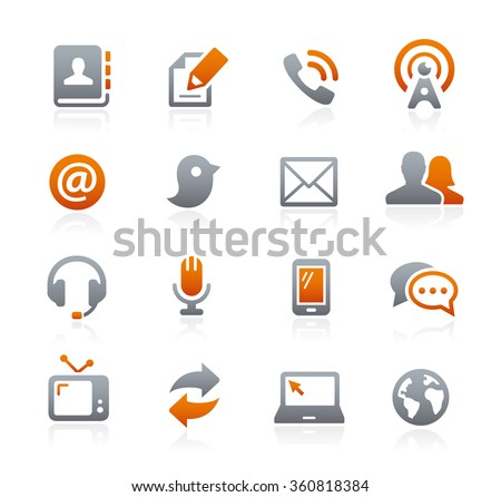 Communications Icons // Graphite Series - stock vector