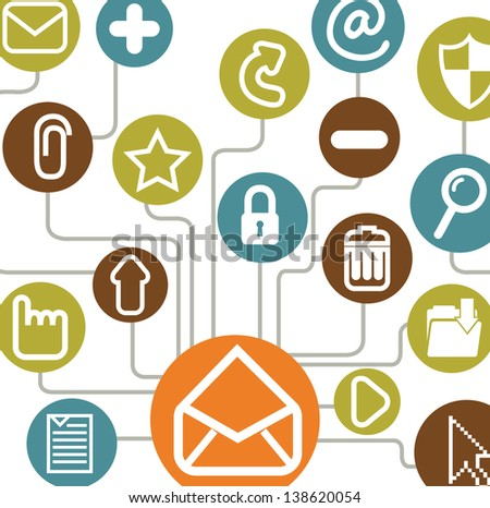Communications icons over white background vector illustration - stock vector