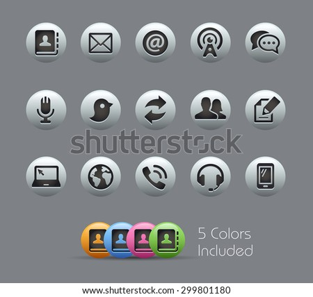 Communications Icons // Pearly Series ----- The Vector file includes 5 color versions for each icon in different layers ----- - stock vector