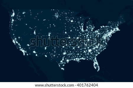 Communications map of the United States - stock vector