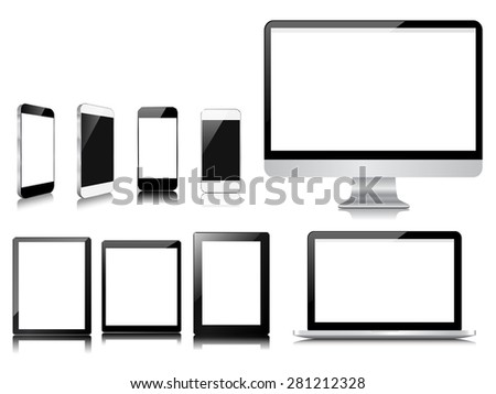 communicator modern device collection set - stock vector
