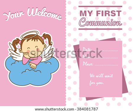 communion girl. Angel on a cloud