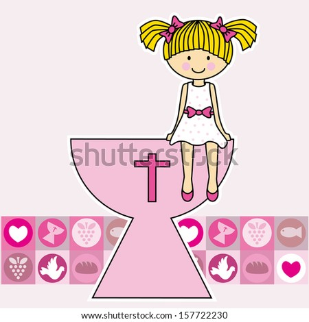 Communion girl. religion - stock vector