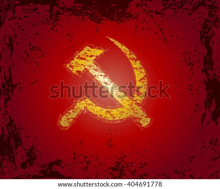 Communism red flag with hammer and sickle symbols. Abstract red grunge rusty vintage vector illustration. - stock vector