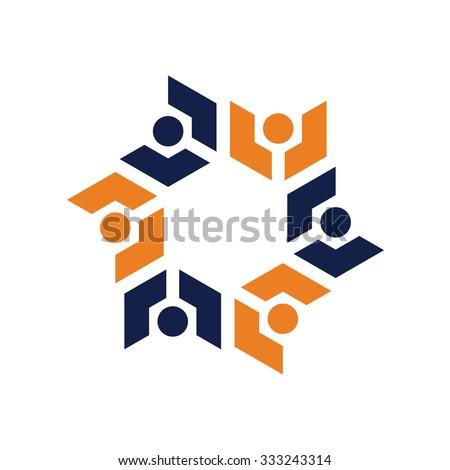Community Geometry Icon Logo Template - stock vector