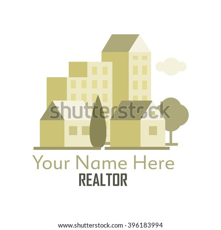 Community of condos, apartment buildings and single dwelling homes. This could be used for a individual realtor, a realty company or a building construction business. - stock vector