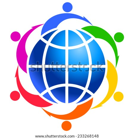 Community of people joined around the globe 3 - stock vector