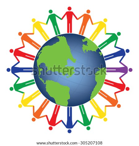 Community of people joined around the globe. Conceptual social network with many people icon gather around globe vector design. Rainbow colors - stock vector