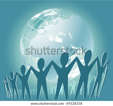 Community of people joined around the globe. Perspective view - stock vector