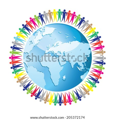 Community of people joined around the globe. Social network. Land and a group of people eps10 - stock vector