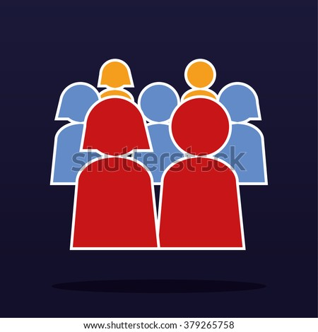 Community or population concept with stylized male and female figures arranged in a group and rendered in different colors - stock vector