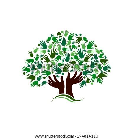 Community tree image. Vector icon design - stock vector