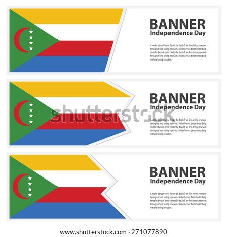 comoros Flag banners collection independence day - stock vector