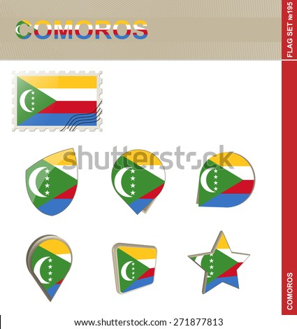 Comoros Flag Set, Flag Set #195. Vector.