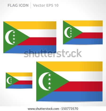 Comoros flag template | vector symbol design | color red white yellow blue and green  | icon set