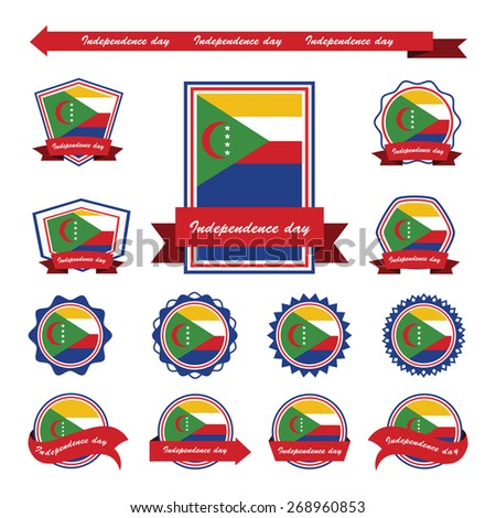 comoros independence day flags infographic design