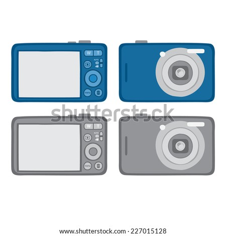Digital camera back stock images royalty free images vectors compact camera front back vector blue silver malvernweather Gallery