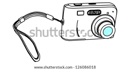Compact camera vector isolated on white background. - stock vector