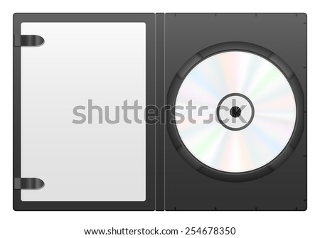 Compact disc case and CD on a white background. - stock vector