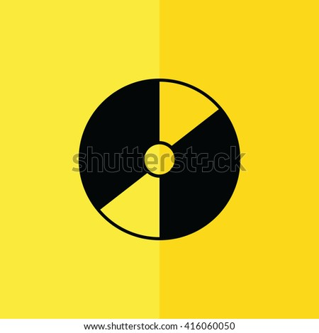 Compact disc / CD / DVD icon on yellow background vector illustration - stock vector