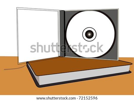 Compact disc illustration in a case on the book - stock vector
