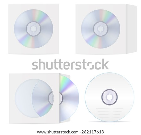 Compact disc set: cd and  blank compact disc envelope with window. Vector Illustration isolated on white background.