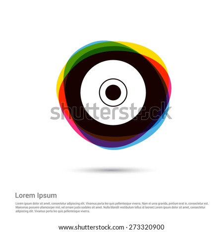 Compact disk icon. Cd or DVD symbol Icon, White pictogram icon creative circle Multicolor background. Vector illustration. Flat icon design style - stock vector