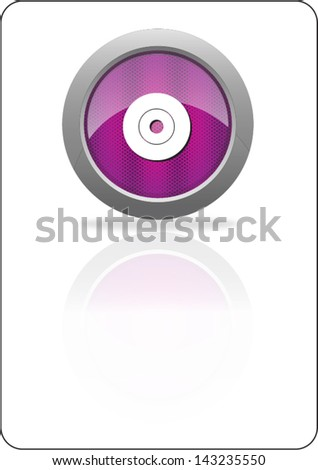 compact disk purple circle web icon with shadow on white background - stock vector