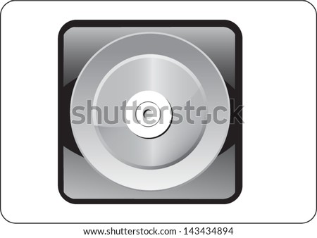 compact disk silver web icon on white background - stock vector