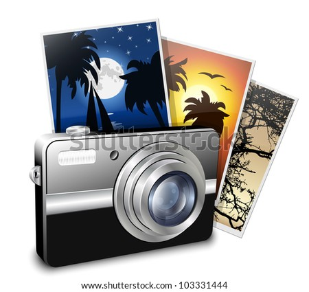Compact photo camera and photos. Vector illustration - stock vector
