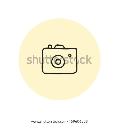 compact photo camera. Vector hand drawn illustration - stock vector
