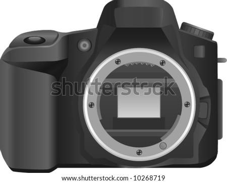 compact semi professional digital SLR (DSLR) camera - stock vector