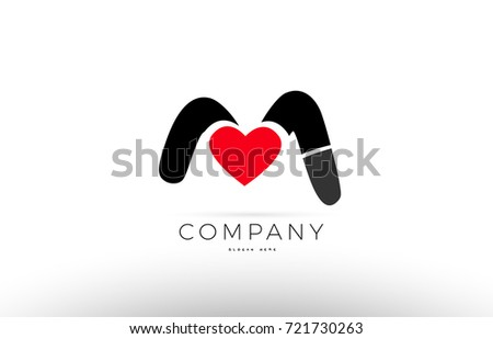Company Alphabet Letter M Logo Design With Red Love Heart Symbol