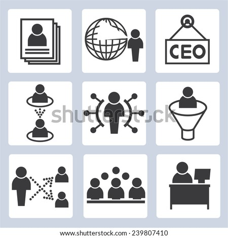 company and business management icons set - stock vector