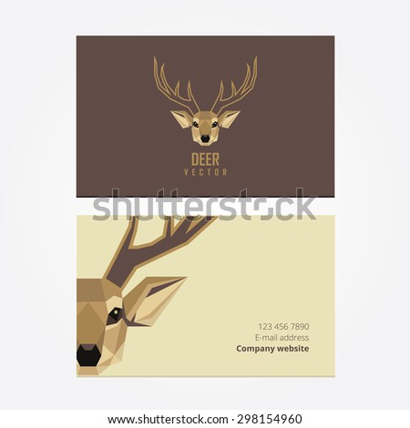 Company business cards with abstract geometric polygonal deer head logo design for visual identity - stock vector