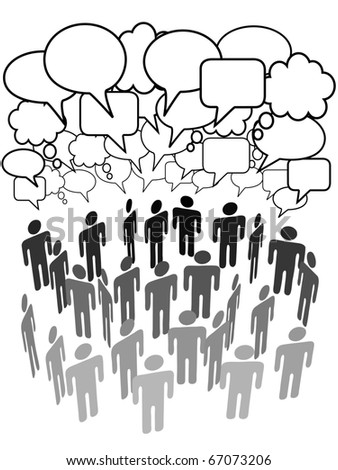 Company club association or other group of people talk under a cloud of social media copy space speech bubbles - stock vector