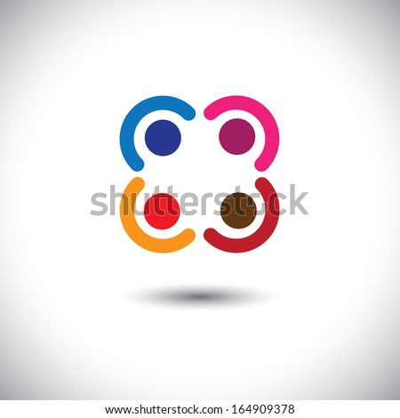 company executives & management brainstorming - concept vector. This abstract graphic can represent support group meeting, students learning, people together, management strategy & planning, etc - stock vector