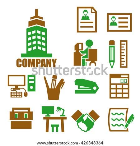 company icon set - stock vector