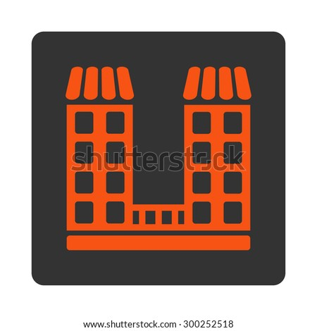 Company icon. This flat rounded square button uses orange and gray colors and isolated on a white background. - stock vector
