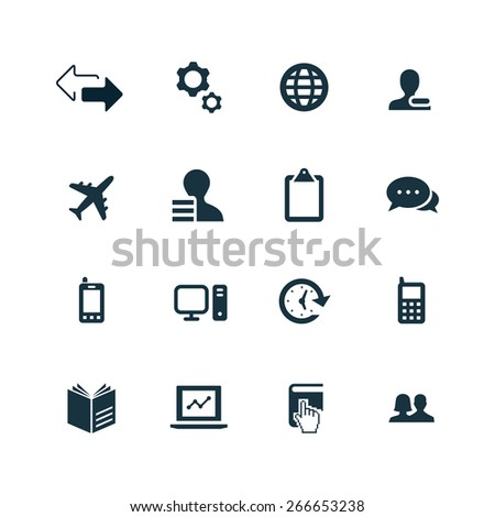 company icons set on white background - stock vector