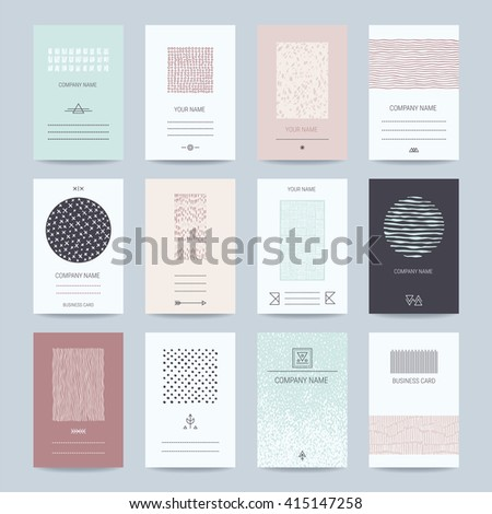 Company, individual business cards. Creative templates collection: of card, banner, brochure with hand drawn textures, brush strokes, trendy thin line symbols, geometric illustrations. Isolated vector - stock vector
