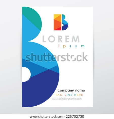 company letterhead stationery template with multicolored letter b logo design - stock vector