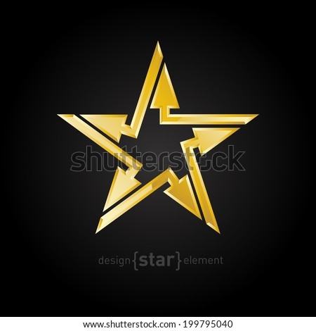 Company logo template. Abstract Gold star with arrows vector design element on black background - stock vector