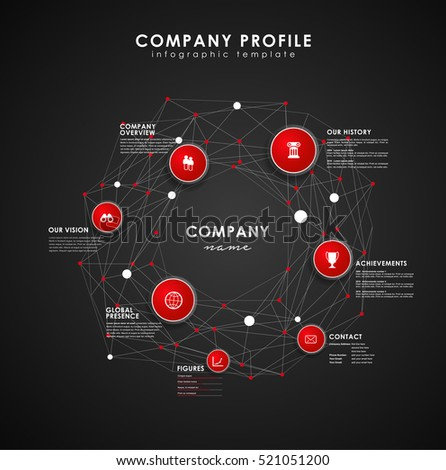 Company Profile Overview Template Red Circles Stock Vector (2018 ...
