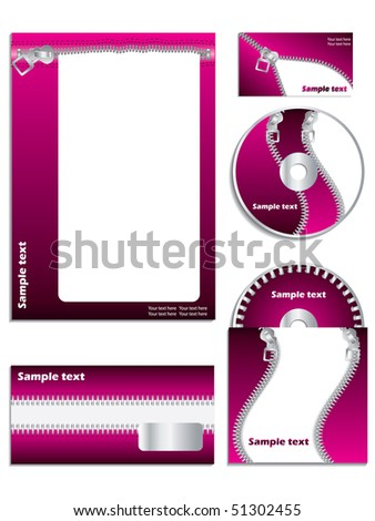 Company vector set with zippers - stock vector