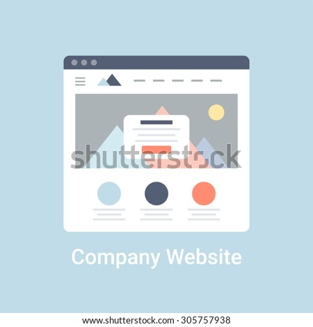 Company website wireframe interface template. Flat vector illustration on blue background - stock vector