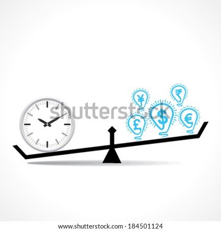 compare clock and dollar bulb , time is money conceptual vector - stock vector